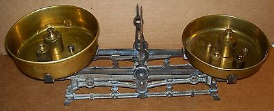 ANTIQUE CAST IRON STORE MEASURING SCALE W/BRASS PANS & WEIGHTS
