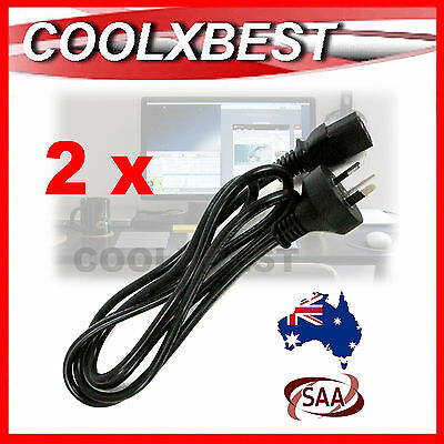 2 x NEW AUSTRALIA AU 3 PIN AC POWER CORD CABLE 1.8M For PC MONITOR XBOX TV PS3