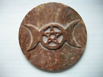 Triple Moon Soapstone Altar Tile Wiccan Pagan Altar Supply