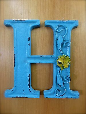 "BLUE CAST IRON WALL LETTER ""H"" 6.5"" TALL rustic vintage decor sign child nursery"