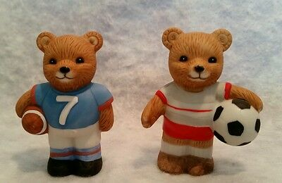 Homco Ceramic Figurine Sports Bears Football Soccer  #1408
