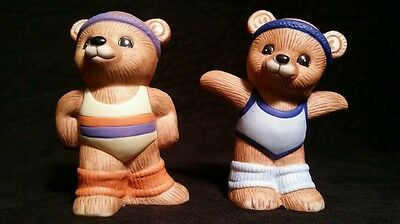 Homco Bear Girl & Boy Exercise Aerobic Working Out Collectable Figurine #1448