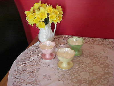Lovely Vintage Maling Lustre Sundae dishes x 3 ,pink ,yellow & green