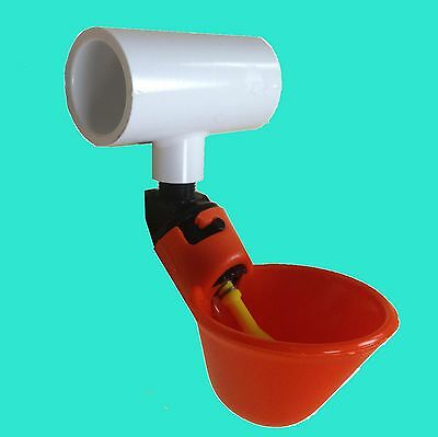 18 Poultry Water Drinking Cups + Tees Chicken Automatic Drinker Bracket PVC New
