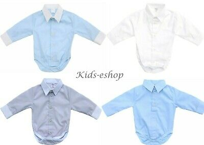 Baby Boy White Smart Shirt Style Formal Bodysuit Body Shirt Long Sleeve 0M-3 Y