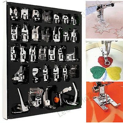 32pcs Domestic Sewing Machine Presser Foot Feet Fr Brother Singer Janome NewHome