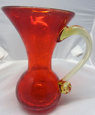 Vintage Amberina Ruby Red Crackle Glass Pitcher with Amber Handle