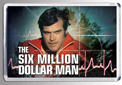THE SIX MILLION DOLLAR MAN - LARGE FRIDGE MAGNET - 70's LEE MAJORS CLASSIC!