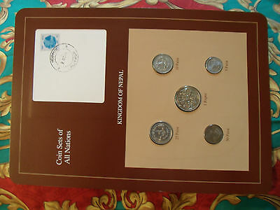 Coin Sets of All Nations Nepal w/ card 1979 - 1986  UNC stamped 3 Nov 87