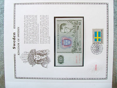 Sweden Banknote 10  Kronor 1980 P52e UNC with UN FDI FLAG STAMP