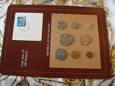 Coin Sets of All Nations Seychelles Maroon 1977 - 1982 UNC 5 cents 1982 w/card