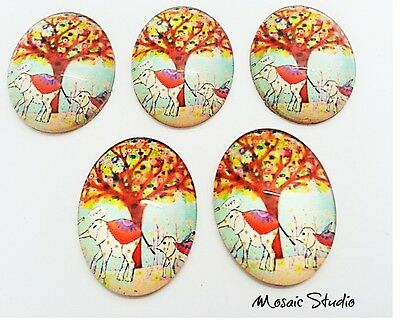 Glass Cabochons  Measure  30x40mm x 5 - Elephants
