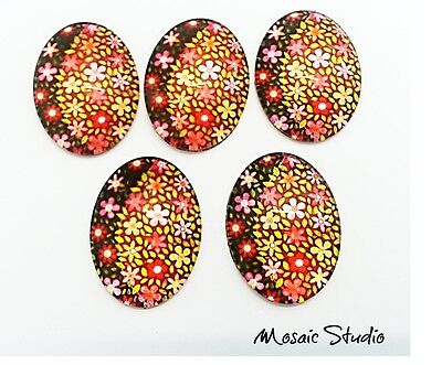 Glass Cabochons  Measure  30x40mm x 5 - Flower Power
