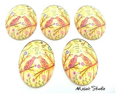 Glass Cabochons  Measure  30x40mm x 5 - Love Birds