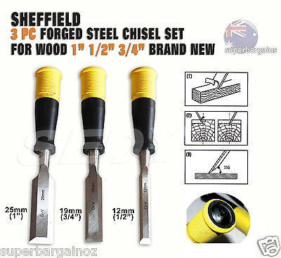"""3 Piece Woodworking Chisel Set Carpentry Wood Timber Carving Tool 1"""" 1/2"""" 3/4"""""""