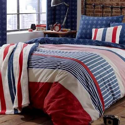 Catherine Lansfield Stars & Stripes Duvet Cover & Pillowcase in Single / Double