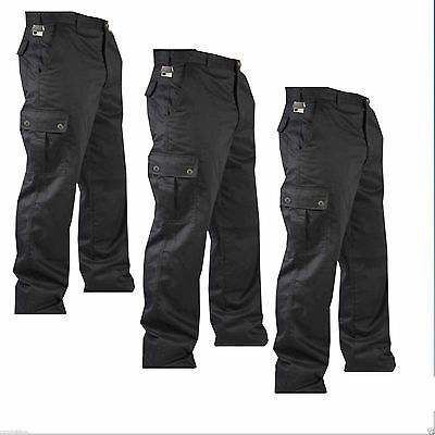 "New Mens Cargo Combat Work Trousers Pants Size 32"" to 40"" Black & Navy 32"" Leg"
