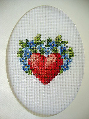 """COMPLETED FINISHED CROSS STITCH CARD """"VALENTINE RED HEART & BLUE FLOWERS DECOR"""""""