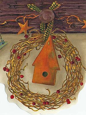 * Sale$  Country Wreathes hang on Wooden Pegs 45 feet Wallpaper Border A018