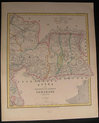 Easterm Semarang Java Indonesia 1858 scarce detailed old color map
