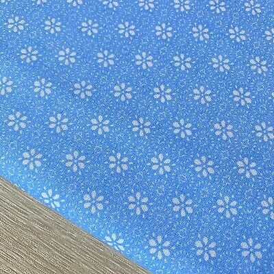 Shabby Chic Flowers on Sky Blue 100% Cotton Fabric. Price per 1/2 metre