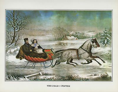 """1978 Vintage """"ROAD-WINTER"""" SLEIGH RIDE! FARMERS CURRIER & IVES COLOR Lithograph"""