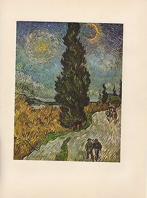 """1952 full Color Art Plate """" Road With Cypresses """" by Van Gogh Lithograph Litho"""