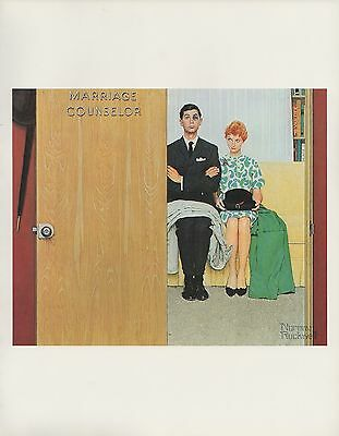 "1977 VINTAGE ""MARRIAGE COUNSELOR"" NORMAN ROCKWELL MINI POSTER Color Lithograph"