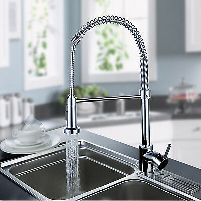 Contemporary  Pull Out Pull Down Spring Kitchen Faucet - Chrome Finish