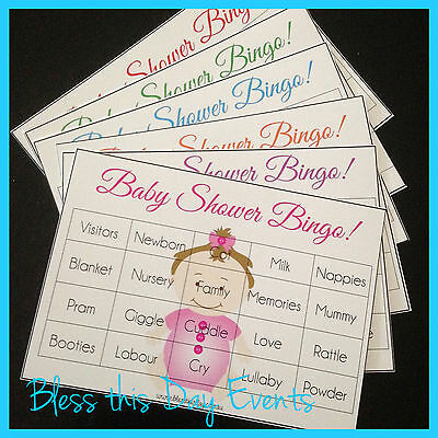Baby Shower Game - BINGO - 24 Guests - GENERIC - Choice of colours!
