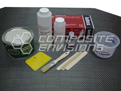 Carbon Fiber Part Wrapping Kit w Clear Epoxy 2x2 Twill Weave - Large Kit