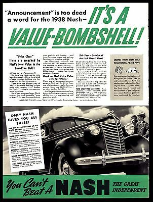 "Original1937 Nash ""value Bombshell""  Vintage Automobile  Art Print Ad"
