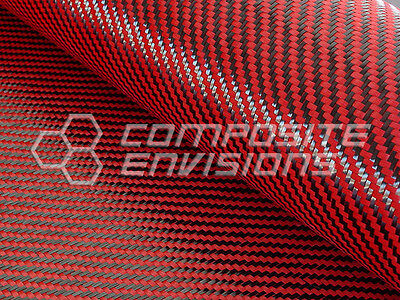 "Carbon Fiber Made With Kevlar Red Cloth Fabric 2x2 Twill 50"" 3k 5.5oz"
