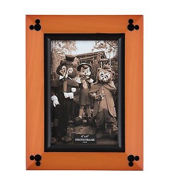 """disney parks 4""""x6"""" cherry wood with black accent picture frame new with box"""