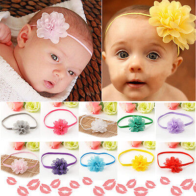 10Pcs Baby Girl Infant Toddler Lace Flower Headband Chiffon Headwear Headpiece