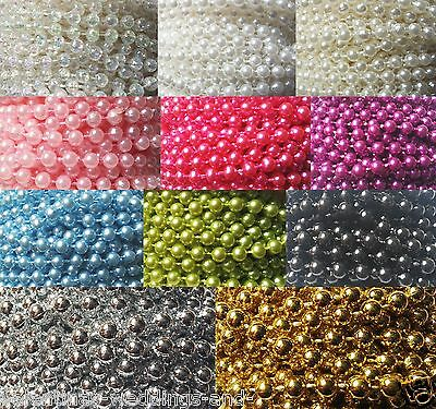 5mm Pearls String Beads Sewing Trim Cake Craft Wedding Bridal 11 Colours