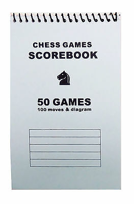 Softcover Chess Score Book - Record 50 Games – Blank Diagrams - Light Blue