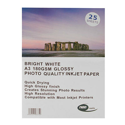 A3 180 gsm Gloss Inkjet Photo Paper 25 Sheets Glossy