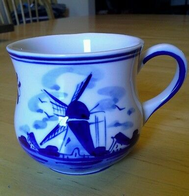 Vtg Delft Blue White Coffee Mug Floral Bouquet Windmill Handpainted DAIC