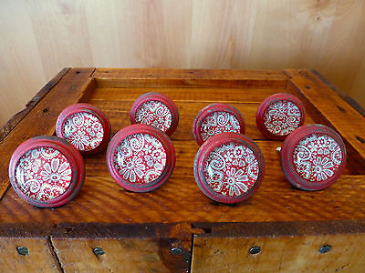 8 RED-WHITE LACE GLASS DRAWER CABINET PULLS KNOBS VINTAGE restoration hardware