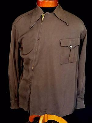 Rare 1930's-1940's Collector's Vintage Western  Angle Zip Shirt Jacket  Sz Med