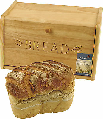 Natural Wooden Bread Storage Bin With Drop-Down Front