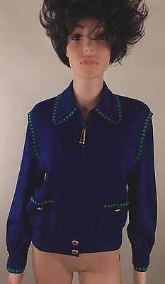 St John Collection M Gray Royal Bl Green Zip Front Jacket Blazr Cardigan Sz S