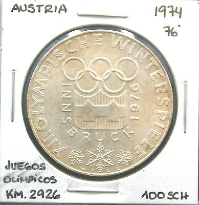 AUSTRIA OLYMPIC GAMES 1976 COIN (100) SHILLINGS 640AG SILVER 23.90G