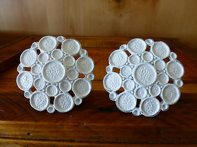 2 WHITE BUBBLE DRAWER PULLS HANDLES KNOB HOOK vintage metal shabby chic hardware