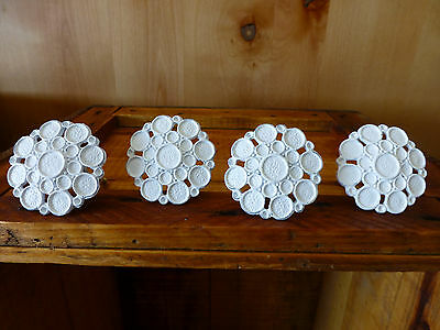 4 WHITE BUBBLE DRAWER PULLS HANDLES KNOB HOOK vintage metal shabby chic hardware