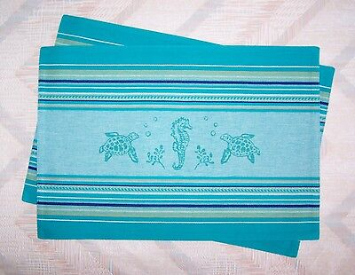 Seahorse Turtle Placemat Set Woven Sea Life Pattern Kay Dee