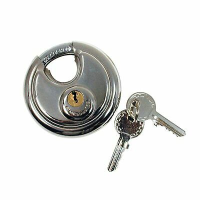 NEW 70mm Heavy Duty Stainless Steel Armor Brass Cylinder Disc Padlock Round Lock