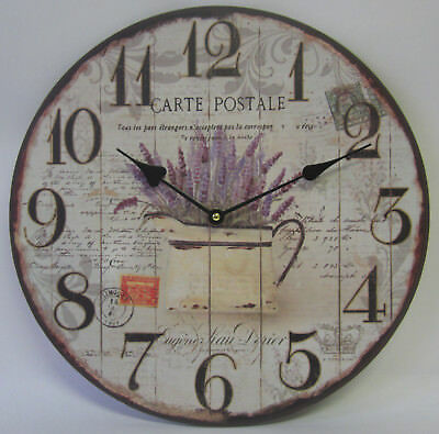 34cm Country Rustic French Provincial Carte Postale Lavender Clock Large Numbers