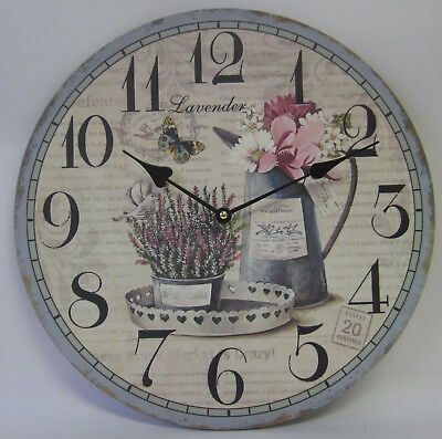 34cm Country Rustic French Provincial Lavender Butterfly Clock Large Numbers